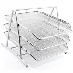 The tray is horizontal, 3rd section, metal, gray