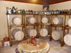 Rack for wine casks wooden
