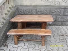 The furniture is wooden garden