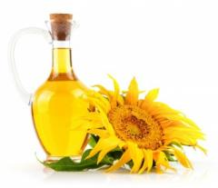 Sunflower oil is bottled and draft