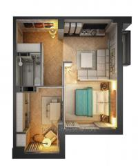 Apartments, one-roomed