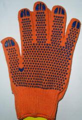Gloves Tric's workers. from x / yarn with PVH orange point the Art. 526
