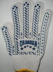 Gloves Tric's workers. from x / yarn with bleached white point the Art. 577