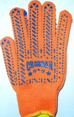 Gloves Tric's workers. from x / yarn with 2-sided point of PVH orange the Art. 584