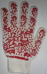 Gloves Tric's workers. from x / yarn about rice. Pvc (leaf.) Art. 622