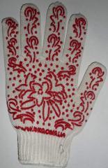 Перчатки рабочие трик. из х/б пряжи с рис. ПВХ