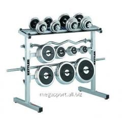 Rack under dumbbells and signature stamps of