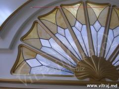 Stained-glass windows in kitchen furniture