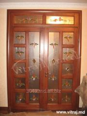 Витражи для дверей с фацетными элементами