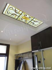 Stained-glass window for a ceiling
