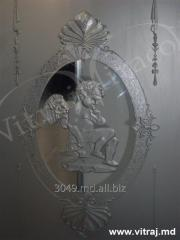 Etched glass for door