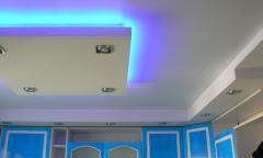 Двухуровневый натяжной потолок на кухне 4