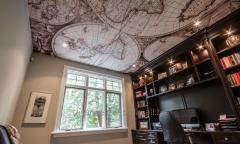 Потолок с фотопечатью для рабочего кабинета в