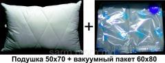 Подушка cиликоновая 50x70 класса LUX + вакуумный пакет 60х80