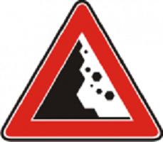 Indicatoare de avertizare «Căderi de pietre»