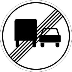 Запрещающий знак Конец зоны запрещения обгона