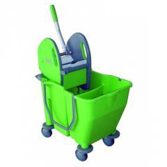 Ведро двойное с отжимом на колесах, 2x15л зеленое