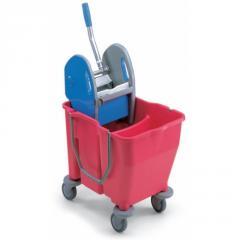 Ведро двойное с отжимом на колесах, 2x15л розовое