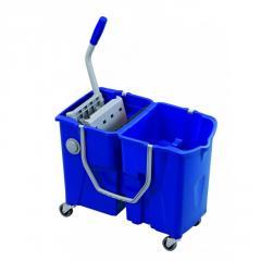 Ведро двойное с отжимом на колесах, 2x15л синее