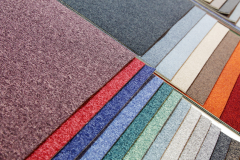 Carpeting in rolls and tiles, domestic and office