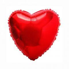 """Шар фольгированный с гелием """"сердце""""(46см), красный"""