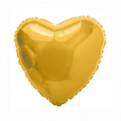 """Шар фольгированный с гелием """"сердце""""(46см), золото"""