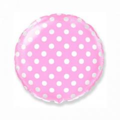 Шар фольгированный с гелием «круг горох″(46см), розовый