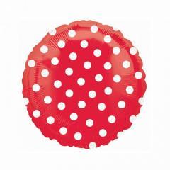 Шар фольгированный с гелием «круг горох″(46см), красный