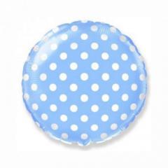 Шар фольгированный с гелием «круг горох″(46см), голубой