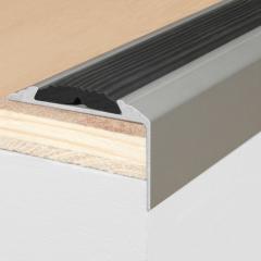 Лестничный профиль с резиной серебряный 1800х46х29мм