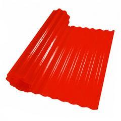 Пластиковый шифер волнистый 2x5м красный