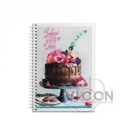 Блокнот А6, 80 листов, боковая спираль, клетка