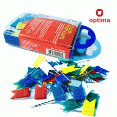 Кнопки-гвоздики, цветные, OPTIMA (50 шт.)