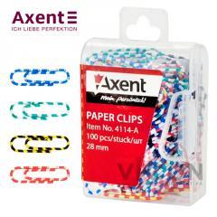 Скрепки цветные Axent 4114 полосатые, 28 мм, 100