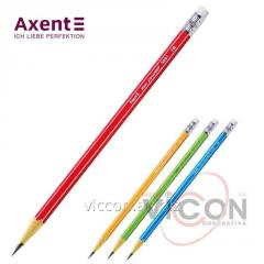Карандаш графитный Axent 9001 с ластиком, НВ