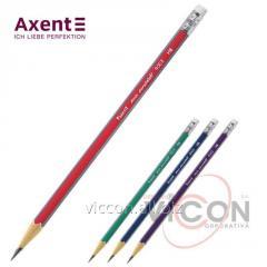 Карандаш графитный Axent 9003-A с ластиком, НВ, трёхгранный корпус
