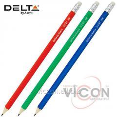 Карандаш графитный Delta D2101 с ластиком, НВ, ассорти