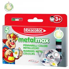 Маркеры 5 цветов металлик FIBRACOLOR Metalmax