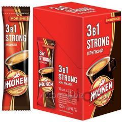 Жокей STRONG 3в1 растворимый кофе крепкий с