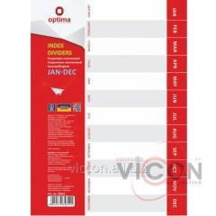 Разделитель листов А4 Optima, пластик, JAN-DEC, по