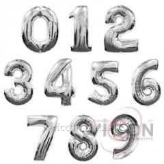 Фольгированные шары цифры, 100 см, серебряного