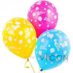 Воздушные шарики цветные Happy Birthday, 20 штук