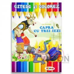 Детская книжка раскраска + чтение - КОЗА И ТРОЕ КОЗЛЯТ