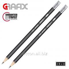 Карандаш графитовый GRAFIX 061, заточенный, с ластиком, 2B