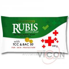 Мыло антибактериальное RUBIS с экстрактом Aloe vera, 100 г.