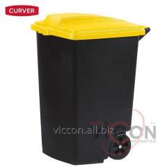 Контейнер для мусора на колесах 100 л, желтая крашка, CURVER