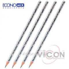 Карандаш графитный ECONOMIX DISCO HB корпус металлик с блестками, заточенный