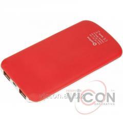 Мобильная батарея (Power Bank) 5 000 mAh, 2*USB output, 5V 2.1A, красная, Optima 4102