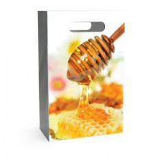 Подарочный бумажный пакет для 2-3 банок с медом