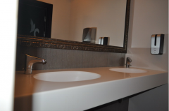 Table-tops with the poured sinks